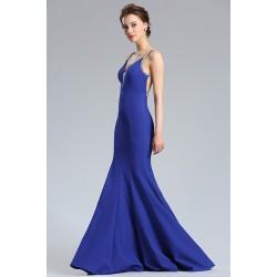 Společenské dlouhé bez rukávů nádherně modré úzké šaty s metalickými ramínky a sexy zády