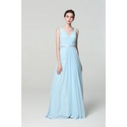 Společenské dlouhé jednoduché blankytně modré nádherné šaty s kamínkovým páskem a volánkem na zádech