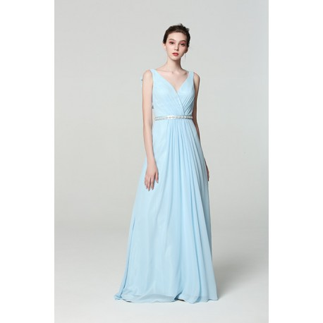 Společenské dlouhé jednoduché blankytně modré nádherné šaty s kamínkovým  páskem a volánkem na zádech 69ce7b69ed