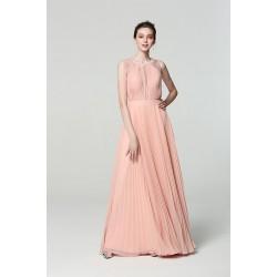 Společenské dlouhé bez rukávů nádherné světle broskvové šaty s plisovanou sukní