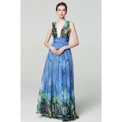 Společenské dlouhé modré nádherné šaty s potiskem motýlých křídel