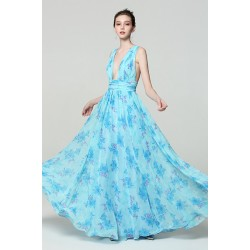 Společenské dlouhé nádherné bledě modré šaty s potiskem květin