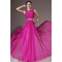 Večerní nádherné růžové šaty s průsvitným topem a ručně kamínky zdobeným páskem