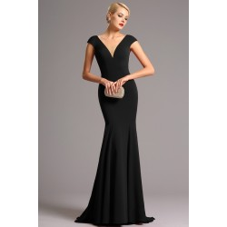 Společenské dlouhé jednoduché černé úzké šaty s véčkovým výstřihem ve střihu mořské panny