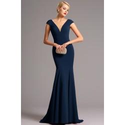 Společenské dlouhé jednoduché modré úzké šaty s véčkovým výstřihem ve střihu mořské panny