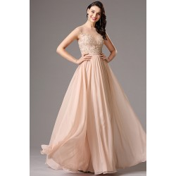 Společenské dlouhé světlé šaty s krásným topem zdobeným krajkovou výšivkou a kamínky v tónu šatů