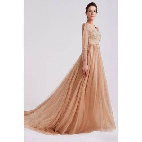 Plesové nádherné elegantní hnědo zlaté šaty s dlouhým rukávem, krajkou zdobeným topem a véčkovým výstřihem na zádech