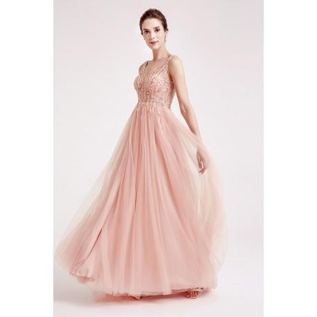 c203d5f77236 Překrásné plesové princeznovské světle růžové nebo bledě modré šaty s topem  posázeným kamínky