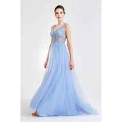 Překrásné plesové princeznovské bledě modré šaty s topem posázeným kamínky