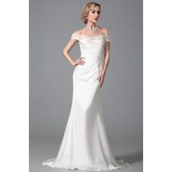 Nádherné jednoduché svatební ivory bílé úzké šaty s krajkovými spadlými rukávky
