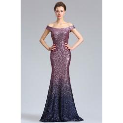 Nádherné společenské ojedinělé flitrové fialkové šaty s tmavým zakončením a se spadlými ramínky