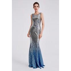 Velice efektní krásné společenské ojedinělé celo flitrové stříbrno modré šaty ve střihu mořské panny