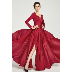 Nádherné jednoduché tlumeně červené dlouhé šaty s vysokým rozparkem bbcbeea62f