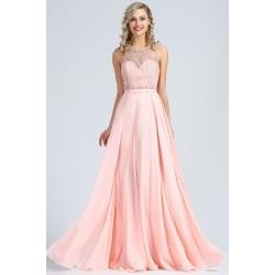 Půvabné světle růžové šatičky bez rukávu s topem zdobeným krajkou s kamínky a svůdným výstřihem na zádech
