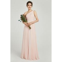 Půvabné jednoduché romantické antické světlounce růžové šaty na jedno  rameno s krajkou na zádech 1737cbed41