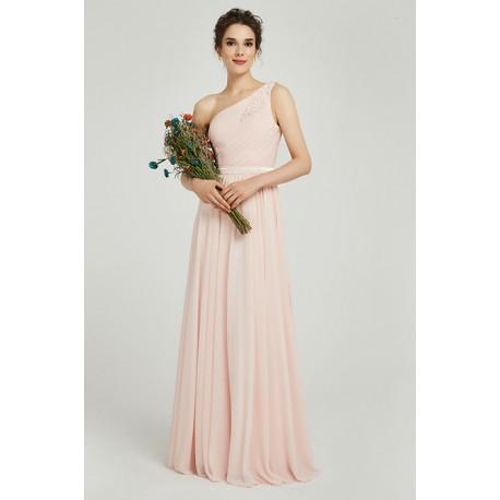 Půvabné jednoduché romantické antické světlounce růžové šaty na jedno rameno s krajkou na zádech