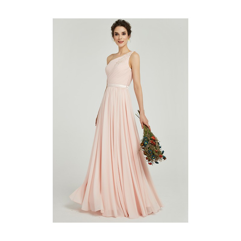 92bc233ab73 ... Půvabné jednoduché romantické antické světlounce růžové šaty na jedno  rameno s krajkou na zádech ...