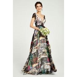 Velice ojedinělé krásné dlouhé šaty s potiskem, krajkovými černými rukávky a hlubokým véčkovým výstřihem