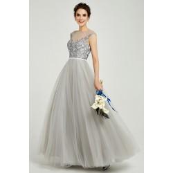 Půvabné princeznovské nádherné šedé šaty s tylovou sukní a krajkovou výšivkou zdobeným vrškem