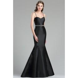 Společenské večerní dlouhé noblesní jednoduché černé šaty s kamínkový pásečkem a špagetovými ramínky