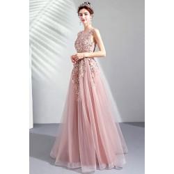 Překrásné plesové dlouhé světle růžové šaty s krajkovou výšivkou,kamínky zdobeným topem a vintage šněrováním