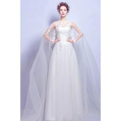 Překrásné svatební pohádkové tylové dlouhé bílé šaty s bohatou sukýnkou,krajkovým topem a závojem