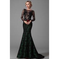 Společenská nádherná velmi přitažlivá černá krajková róba s dlouhým  rukávem 1801e384a6