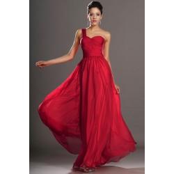 Společenské okouzlující červené šaty na jedno ramínko a s krajkou po obou stranách topu