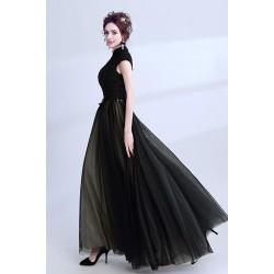 Svůdné dlouhé večerní černé šaty s krajkovou výšivkou zdobeným topem a stojáčkem