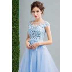 Společenské princeznovské poměnkové dlouhé modré šatičky s kloboučkovým rukávkem a vintage šněrováním