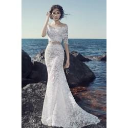 Nádherné ojedinělé celokrajkové mořské dvoudílné úzké svatební dlouhé šaty s vlečkou