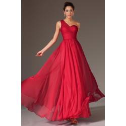 Společenské plesové tlumeně červené šaty na jedno rameno s krajkovými zády