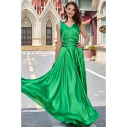 Společenské jednoduché zelené šaty s řaseným pasek a holými zády