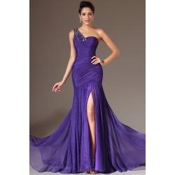 Společenské okouzlující fialové šaty na jedno rameno zdobené krásnými kamínky
