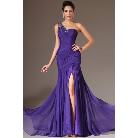Společenské nové okouzlující fialové šaty na jedno rameno zdobeno krásnými kamínky