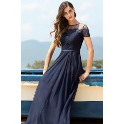 Tmavě námořnicky modré společenské okouzlující dlouhé šaty s krajkovým dekoltem a rukávky
