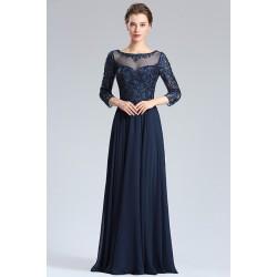 Překrásné nové večerní námořnicky modré šaty s plně kamínky zdobeným topem a dlouhým rukávem