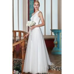 Jednoduché svatební šaty tylové na jedno rameno