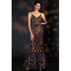 Překrásné úzké tmavé barevné kamínkové šaty plně posety kamínky a flitry