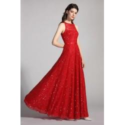 Plesové splečenské červené šatičky bez rukávů pošité celé flitry