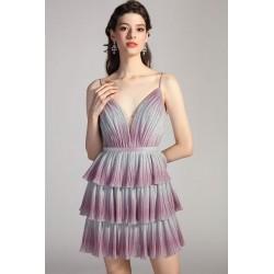 Ojedinělé společenské dlouhé ombré vrstvené šaty do barvy lila