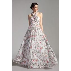 Společenské dlouhé květované šaty s bohatou sukní a holými zády