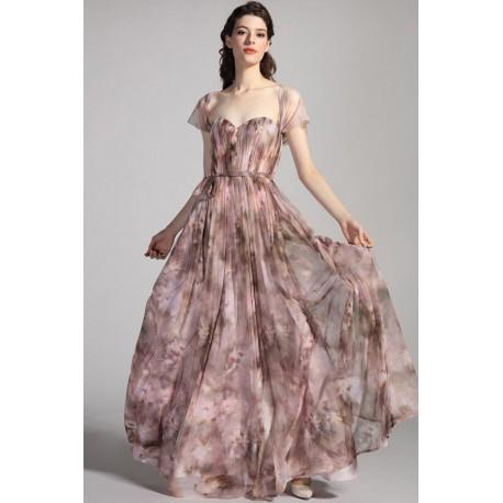 Společenské dlouhé květované moca šaty s bohatou sukní a kloboučkovými rukávky