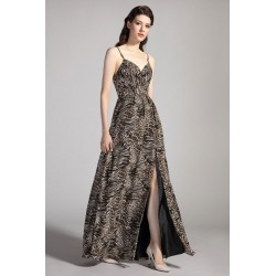 Společenské leopardí krásné sexy šaty s úzkými ramínky