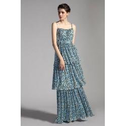 Společenské dlouhé blědě modré šaty s potiskem a troj kanýrovou sukýnkou až na zem