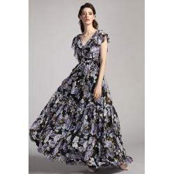 Společenské naadýchané krásné černé šaty se světlými květy