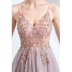 Společenské překrásné starorůžové šaty s nádherně zdobeným topem