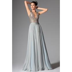 Společenské nové romantické šedomodravé šaty s hlubokým sexy véčkovým výstřihem a nádhernou průsvitnou krajkou