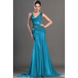 Společenské nádherné a stylové tyrkysové šaty zdobené třpytivými kamínky na  ramínka ve stylu mořské panny 4ddec8ba77