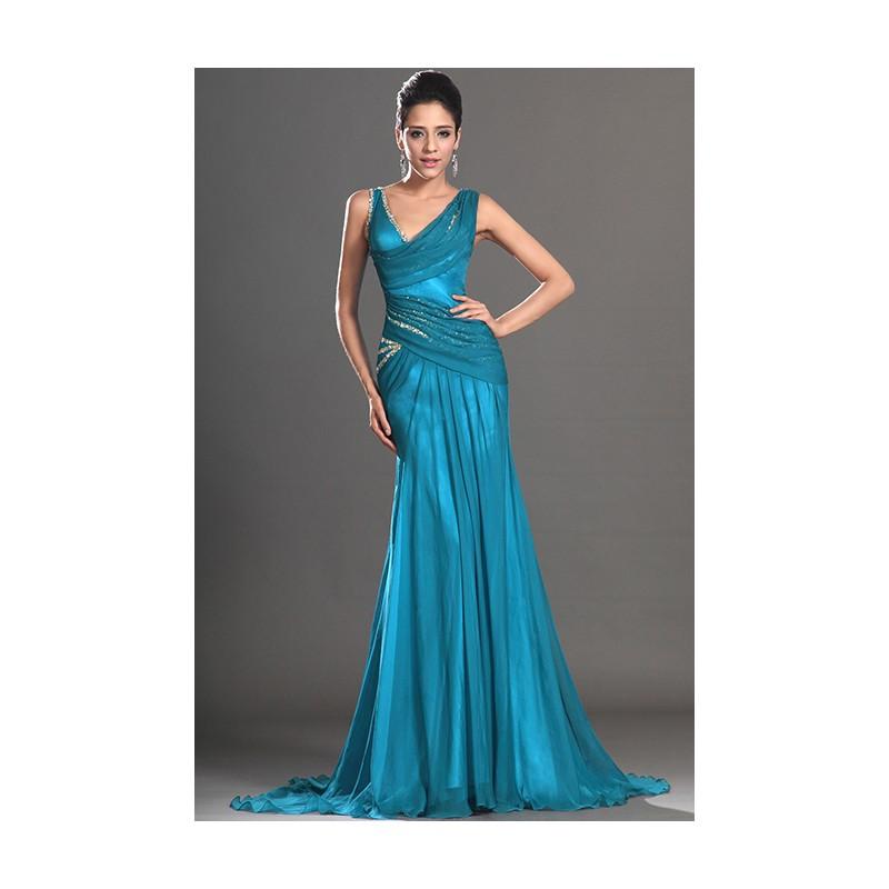 23ae1c4ce43c Společenské nádherné a stylové tyrkysové šaty zdobené třpytivými kamínky na  ramínka ve stylu mořské panny